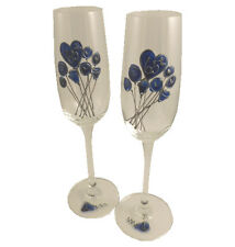 65th Wedding Anniversary Pair of Champagne Flutes Flower