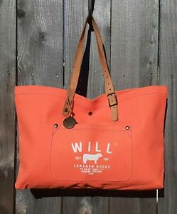 WILL LEATHER GOODS NEON ORANGE CANVAS LEATHER TOTE SHOPPER SHOULDER BAG