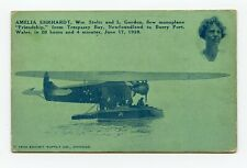 AMELIA EHRHARDT 1928 AIRPLANE FLIGHT ADVERTISING TRADE CARD FROM CANADA TO WALES