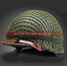 Full Set WW2 WWII US M1942 Green Steel M1 Helmet With Webbing Net Cover