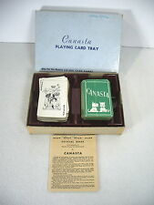 Playing Cards Canasta Double Deck Arrco Plastic Tray Box Green Dogs Terrier Box