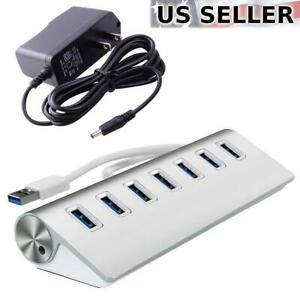 7-Port Aluminum USB 3.0 Hub + 5V/2A Power Adapter for PC Laptop Notebook Desktop
