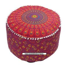FootStool Seat Cover Pouf Red Flower Print Round Decor Cotton Bohomian Indian