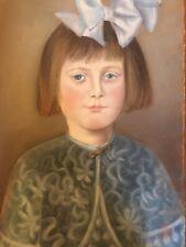 Très beau Dessin Pastel ancien jeune fille au noeud dans les cheveux bon etat