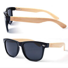 Classic Eco Wayfarer Bamboo Wooden Sunglasses - BLACK (POLARISED LENS)