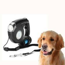 4.5m LED Flashlight Extendable Retractable Pet Dog Leash Lead W/Garbage Bag~
