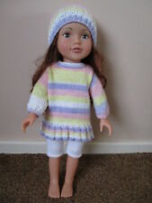 Hand knitted dolls clothes to fit a Designafriend doll - free postage!