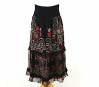 RENE DERHY Women Maxi Skirt L 14 Crinkle Black Red Layered Smock Boho Dress