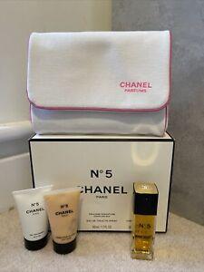 Vintage Chanel No 5 Gift Set Perfume Bath Gel Body Cream Makeup Bag Collector