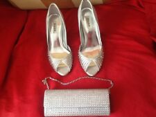 DUNE SILVER SATIN & DIAMONTE PEEP TOE STILETTO SHOES SIZE 6 AND MATCHING BAG