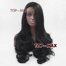 60 CM Natural Black Long Curly Hair Fancy Party Daily Lace Front Wig + Wig Cap