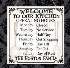 Personalised Family Kitchen Operating Hours Love Home Sign Shabby Present Chic
