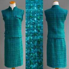 Vtg 60s 70s Irish Mohair Hand Loomed Tweed 2p Suit Set Outfit Skirt Top Teal Xs
