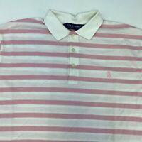 Polo Golf Ralph Lauren Polo Shirt Men's XL Short Sleeve White Pink Pima Cotton