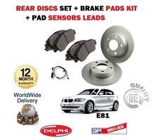 FOR BMW 1 SERIES E81 116i 116D 2007-> REAR BRAKE DISCS SET + PADS KIT + SENSORS