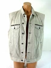 MARC ECKO CUT & SEW MENS EMBELLISHED LIGHT WASH DENIM VEST SIZE XL