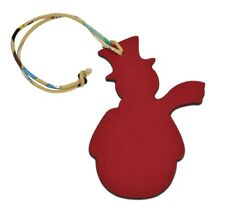 Auth Hermes Petit H Snowman Bag Charm Rouge Grenat Epsom Plomb Togo Leather