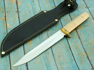 VINTAGE CUSTOM HAND FORGED TIGER MAPLE HUNTING BOWIE CAMP BOWIE KNIFE SET KNIVES