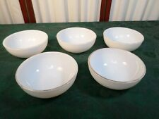 5 Vintage Corning White Milk Glass Cereal Bowls