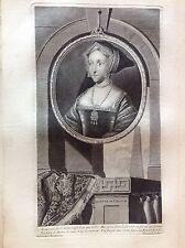 Jane SEYMOUR Regina consorte INGHILTERRA ritratto Vermeulen Acquaforte XVIII sec