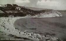 Falmouth UK Postcard Mid 1900s Rare Swan Pool Beach Cornwall Stamp