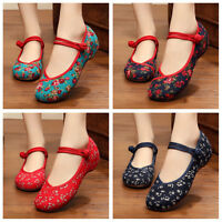 Vintage Chinese Style Women Embroidered Shoes Mary Jane Qipao Dress  x