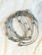 "Southwest Liquid Silver 5 Strand Necklace With Turquoise 30"" Long Unmarked"