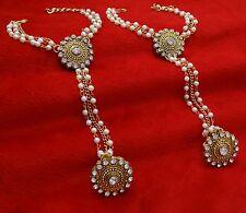 Indian Bridal Wedding Hand Elegant Chain Finger Ring Bracelet Panja Jewelr