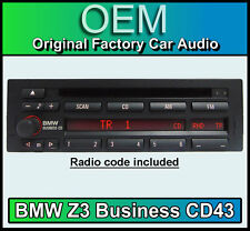 BMW Z3 CD player, BMW CD43 radio car stereo head unit, Supplied with radio code