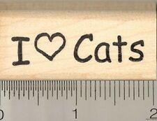 I heart cats rubber stamp B7106 Wood Mounted