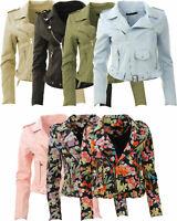 New Womens Faux Suede Floral Plain Cropped Ladies Biker Jacket Size 8 10 12 14