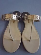 TED BAKER Light Grey Silver Metal Sequin Strap Flat Thong Slide Sandals 8.5 9