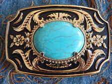 NUOVO REALIZZATO A MANO Cintura Fibbia Oro / Nero in Metallo Colore Turchese, WESTERN, Goth