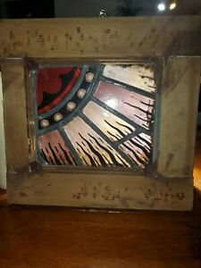 Vintg 1920's Stained Glass Sunburst  Salvaged /Restored 11 x 11  Ready to hang