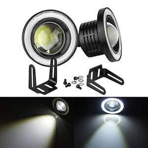 "2x 3.5"" LED Angel Eye COB Fog Light Bulbs Xenon White DRL Halo Ring Projector K5"