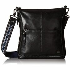 The Sak Iris Crossbody Bag Black Leather Purse Embroidered Strap 104118