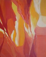 1966 Original Oil Painting Modern Red & Orange Abstract Signed Hawkins