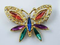 Vintage Butterfly Brooch Pin Marquise Jewel Tone Clear Rhinestones Gold Tone
