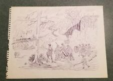 Original Pen & Ink Civil War Cannon Attack Scene Signed By George Trimly 9x12