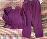 Vintage New Women Tracksuit Pant Suit 2PCS Set Plus Size 1X/2X Purple Home Sport