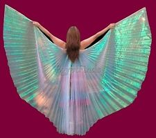 Egyptian Belly Dance Costume White Rainbow Isis Wings MEGA SALE +sticks & Bag