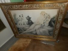 VINTAGE LOUIS ICART ''PERFECT HARMONY'' FRAMED PRINT SINGING SCOTTIE DOGS & LADY