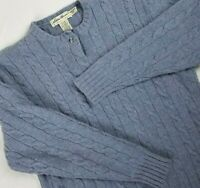 Womens Eddie Bauer Wool Sweater Lambs Wool Cable Knit Pullover Blue Sz S Petite