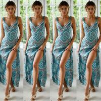US Womens Summer Boho Maxi Dress Evening Cocktail Party Beach Dresses Sundress