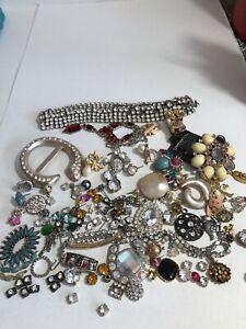 VINTAGE Broken Costume Jewelry Rhinestone Repair Lot Harvest Weiss, Abella, HFB