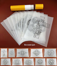 10pcs Leather Craft Carve Draw Patterns Transparent Tracing Paper Template Film