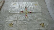 """Antique SILK EMBROIDERED FLORAL TABLECLOTH 32""""x32"""", Red, Gold"""