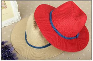 Women's Straw Fedora Hat Travel Panama Trilby Brim Cap Foldable Packable