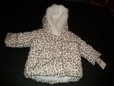 Infant Girl's Hooded Coat By Carter's. White And Pink/Leopard Size 12 Months NEW