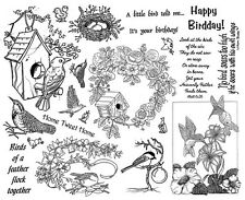Unmounted Rubber Stamps Sheets, Bird Stamps, Birds, Birdhouse Wreath, Sayings